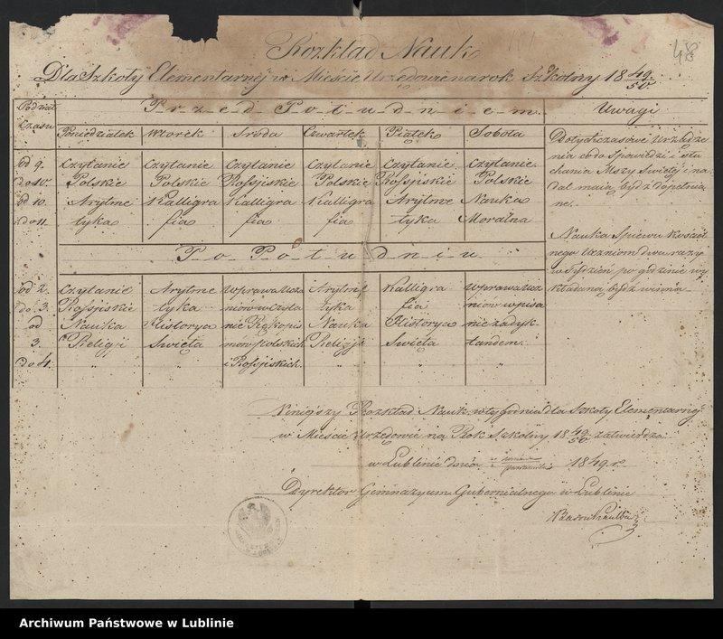 """Obraz 6 z kolekcji """"Rozkład zajęć Szkoły Elementarnej w Urzędowie (1836-1861)"""""""