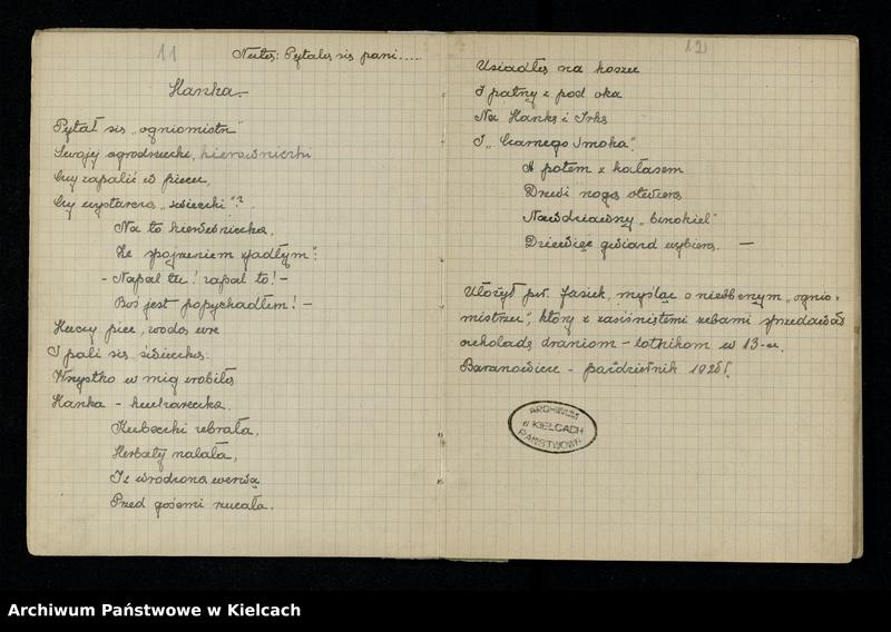 """Obraz 10 z jednostki """"Notatnik z piosenkami S.P. i O. z 1920 roku oraz Notesik żołnierski Stanisławy Olędzkiej-Daszewskiej"""""""