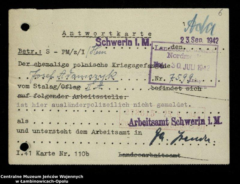 """Obraz 7 z jednostki """"Poszukiwania jeńców polskich zwolnionych z niewoli niemieckiej jako robotnicy cywilni, lit. Ada-Bod"""""""