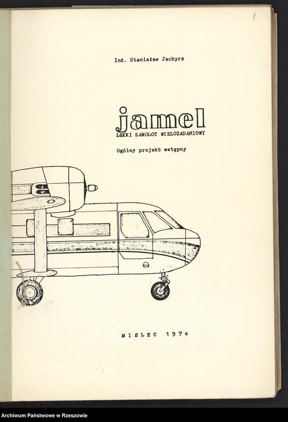 """Obraz z jednostki """"Ogólny projekt ,wstępny """"JAMEL"""" - lekki samolot wielozadaniowy ."""""""