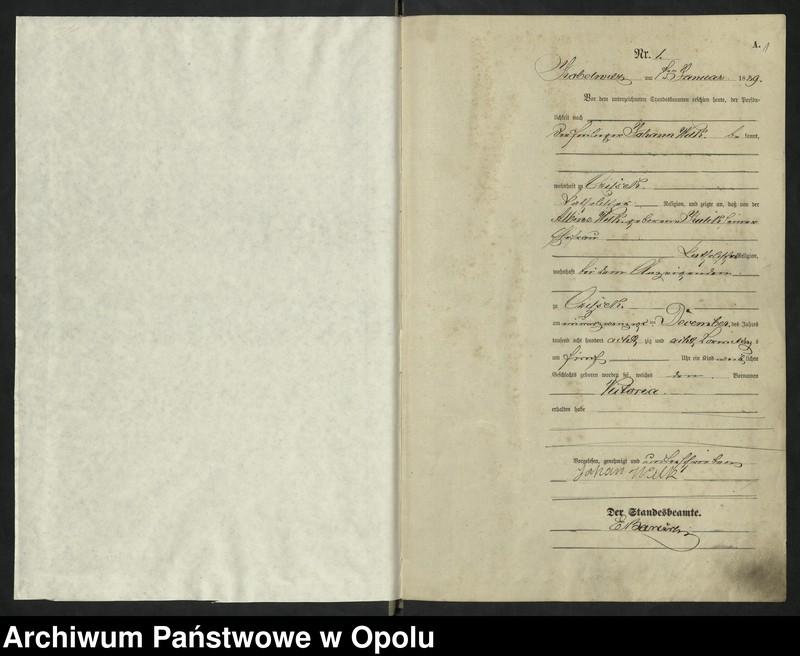 """Obraz z jednostki """"Urząd Stanu Cywilnego Kobylice Księga urodzeń rok 1889"""""""