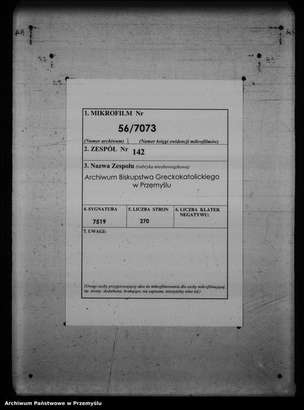 """image.from.unit.number """"[Kopie ksiąg metrykalnych parafii Cisowa z filiami Brylińce, Rokszyce (dekanat Przemyśl)]"""""""