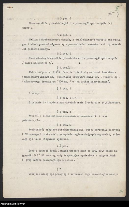 """Obraz 9 z jednostki """"[Budżet Służby Legalizacji Narzędzi Mierniczych na drugie półrocze 1919 r. i okres do 31 III 1920 r. Wyjaśnienia, zestawienia, załączniki.]"""""""