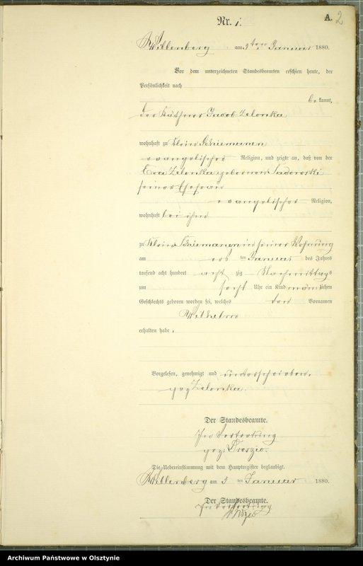 """Obraz z jednostki """"Geburts-Neben-Register Nr 1 - 250"""""""
