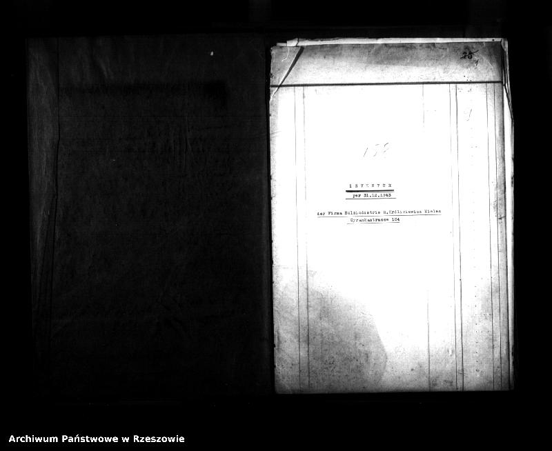 """Obraz z jednostki """"Inventur per 31.12.1943 der Firma Holzindustria H. Królikiewicz Mielec Cyrankastrasse 104 (Inwentura majątku Firmy Zakład Drzewny H. Królikiewicza w Mielcu)"""""""