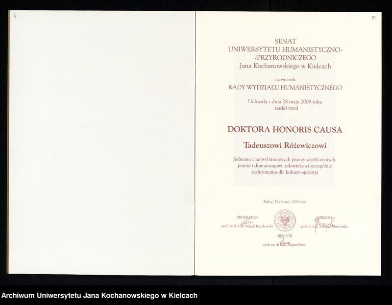 """Obraz 14 z kolekcji """"Pamięci Poety - Doktorat Honoris Causa dla Tadeusza Różewicza"""""""