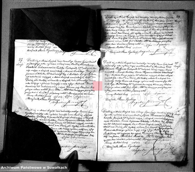 """Obraz z jednostki """"Duplikat akt cywilnych urodzonych, zaślubionych i zmarłych wyznania mojżeszowego okręgu Sereje na rok 1850"""""""