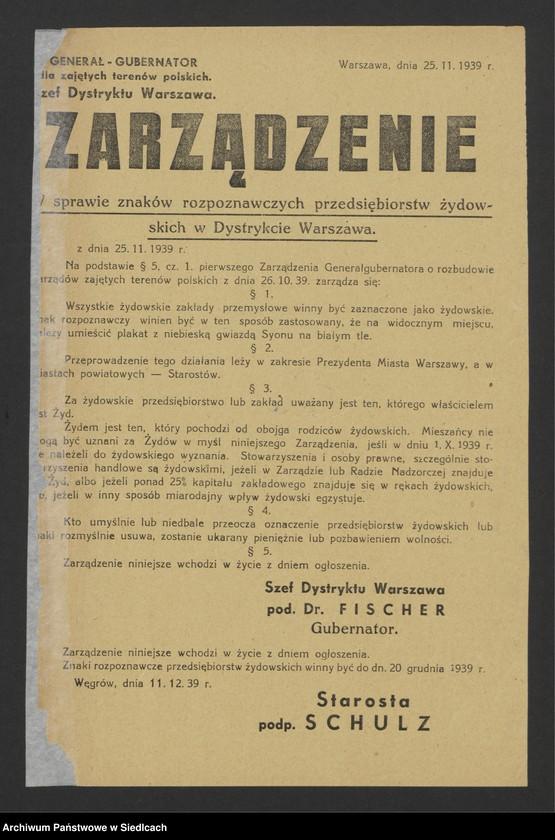 """Obraz 5 z kolekcji """"Afisze okupacyjne powiatu sokołowskiego 1939-1944"""""""