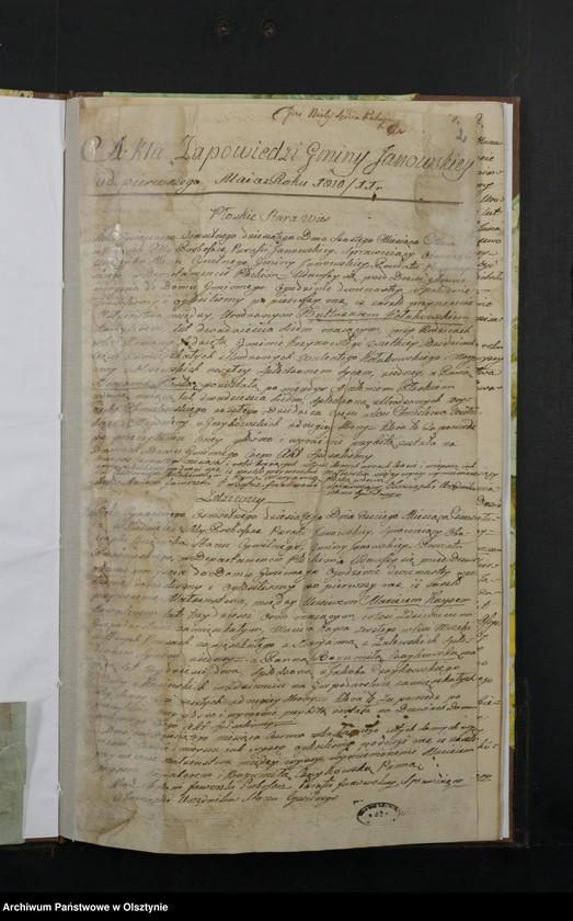 """image.from.unit """"Akta Zapowiedzi Gminy Janowskiey w Departamencie Płockim Powiecie Przasnyskim spisane 1810/11"""""""