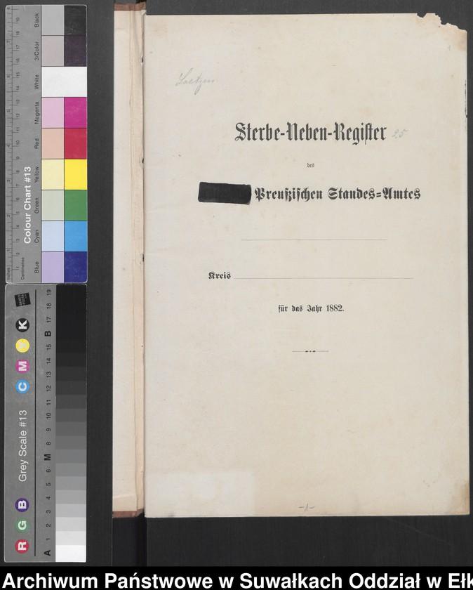 """image.from.unit """"Sterbe-Neben-Register des Preussischen Standes-Amtes [Orlowen] Kreis [Loetzen] für das Jahr 1882"""""""