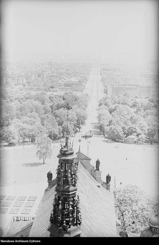 Obiekt Widok ogólny miasta. Widoczna droga prowadząca do klasztoru. z jednostki Częstochowa