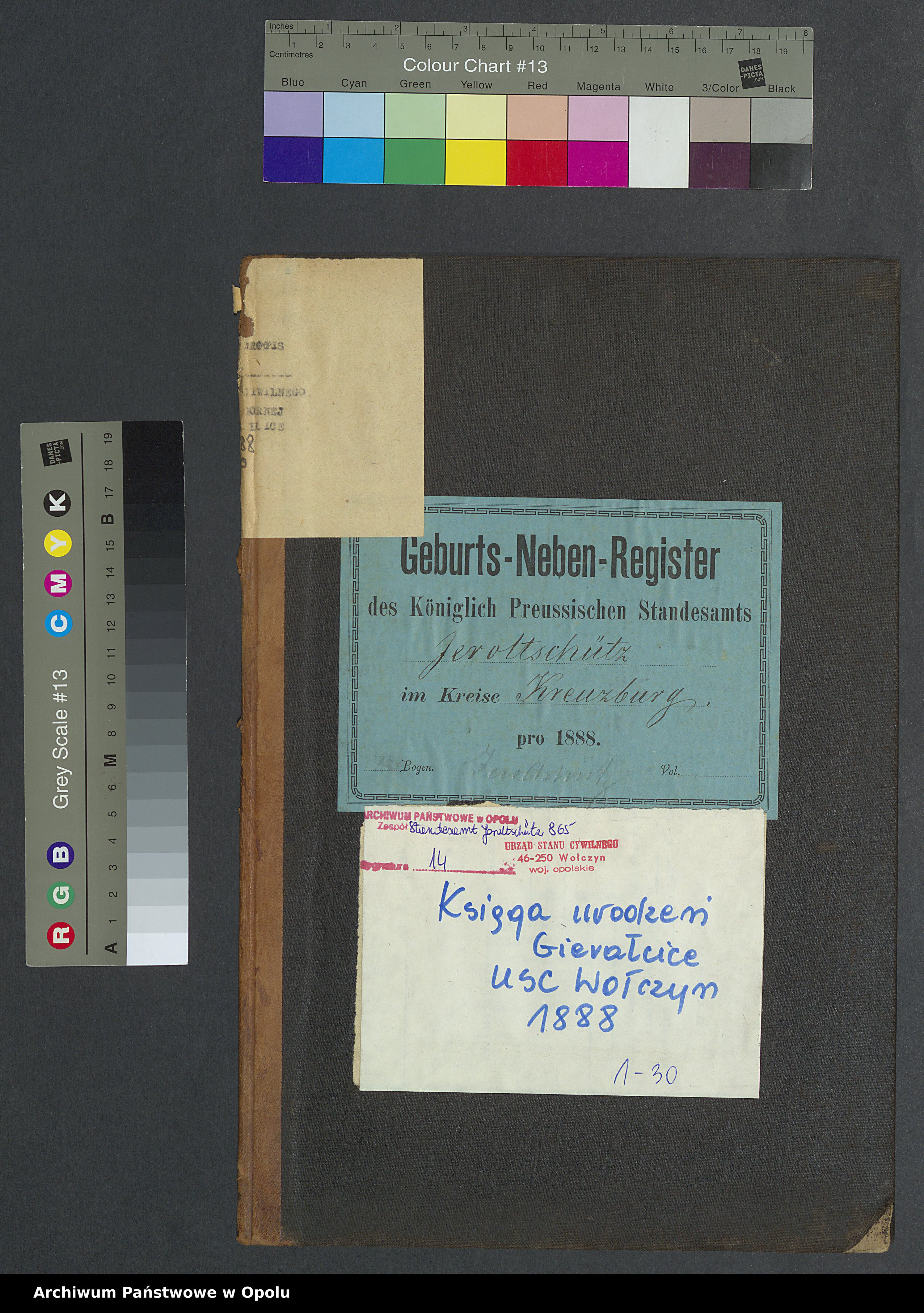 Skan z jednostki: Geburts-Neben-Register Standesamts Jeroltschütz pro 1888