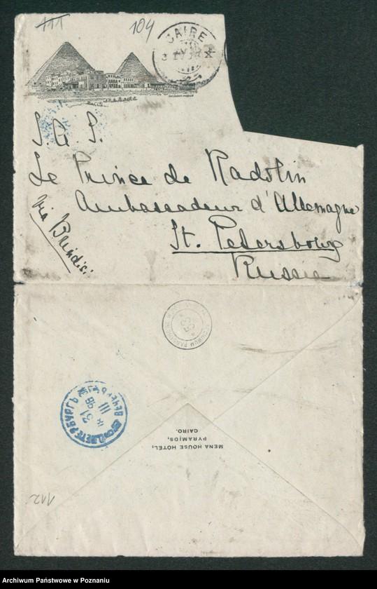 """Obraz 14 z kolekcji """"Egzotyczny papier listowny i rachunki z elitarnych hoteli - podróże rodziny Radolińskich"""""""
