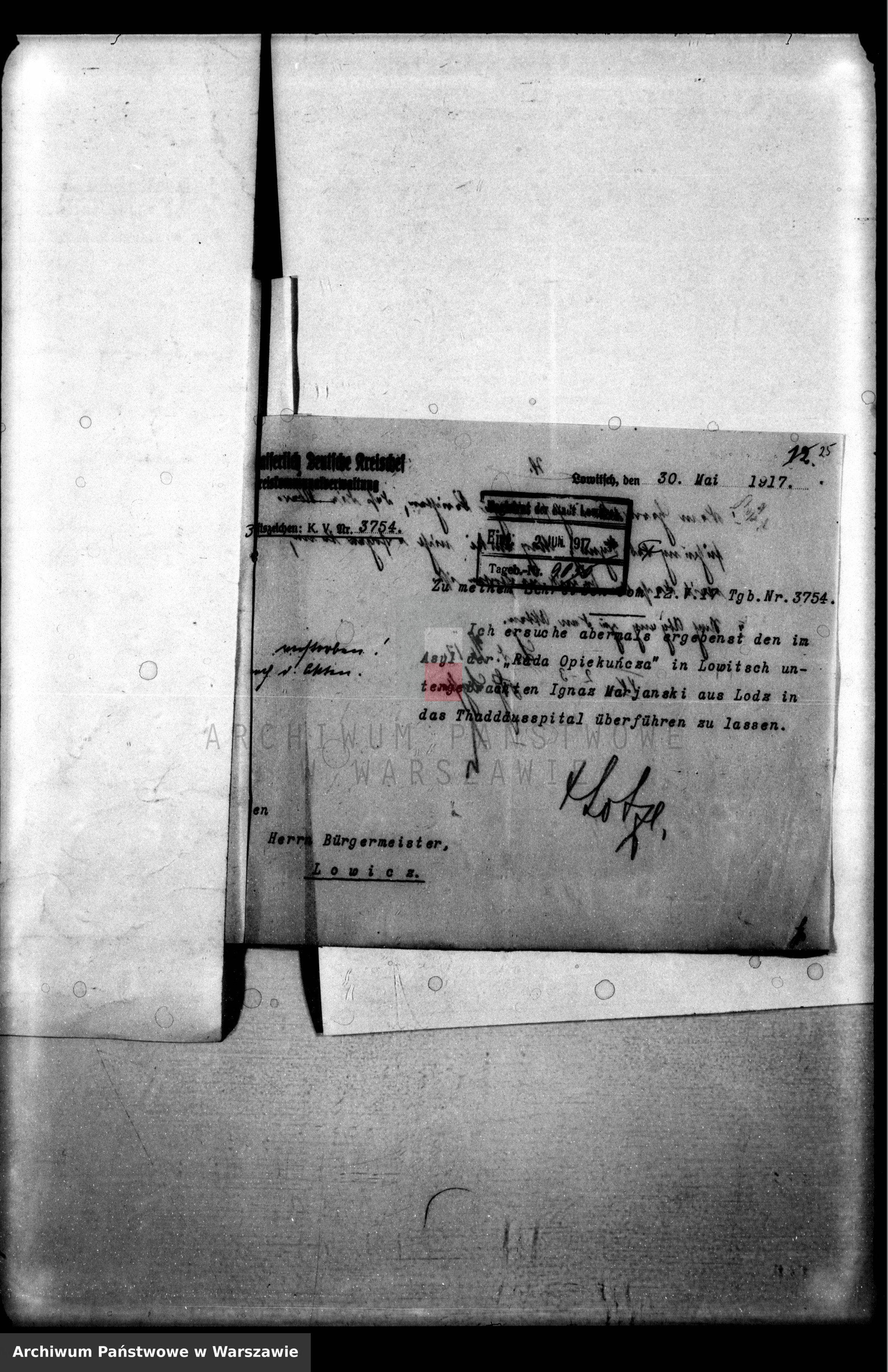 Skan z jednostki: Aufnahme von Personen in das Städtische Krankenhaus [Przyjmowanie chorych do Szpitala Miejskiego]
