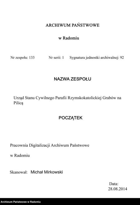 """image.from.unit """"Duplikat akt urodzeń, małż. [małżeństw] i zgon. [zgonów] rz.kat. par. Grabów 1912"""""""