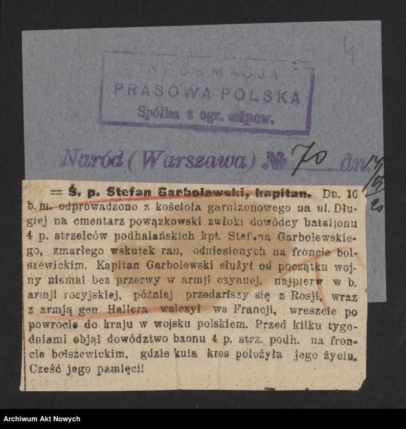 """Obraz 6 z jednostki """"Walki Armii Ochotniczej pod Warszawą. Wycinki prasowe."""""""