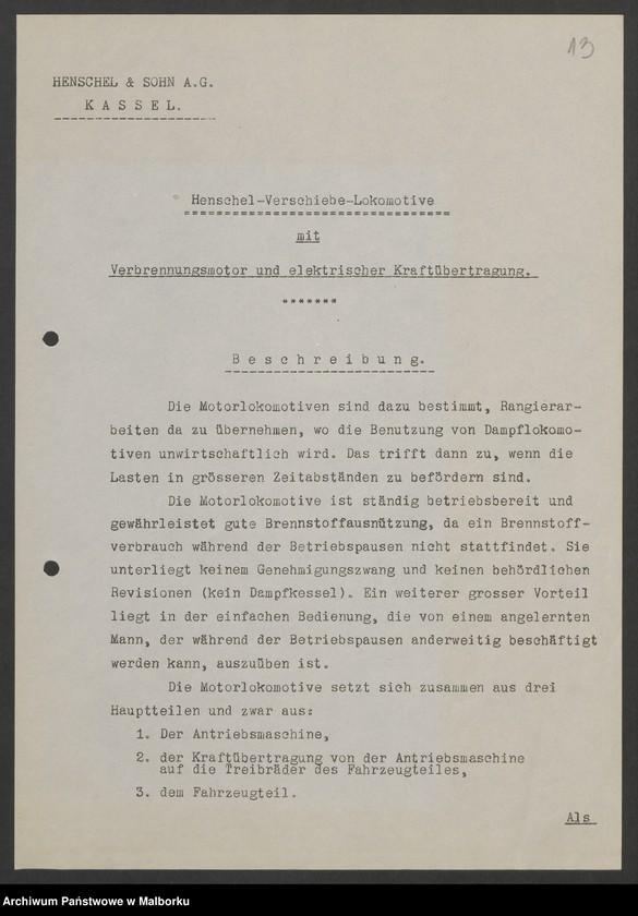 """Obraz 16 z jednostki """"Lokomotivbedarf [Przetarg na zakup lokomotywy elektrycznej Typ D El 110 Dokumentacja firmy Henschel und Sohn AG w Kassel]"""""""
