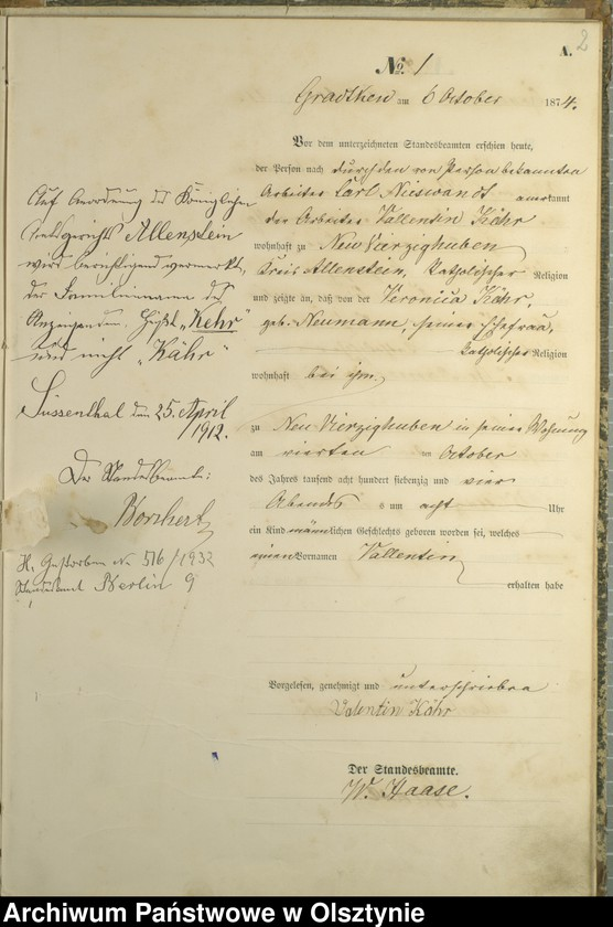 "Obraz z jednostki ""Haupt-Geburts-Register Nr 1 - 19"""