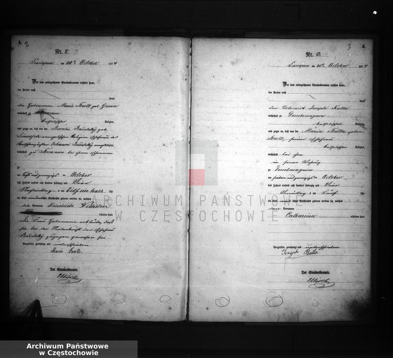 """Obraz z jednostki """"[Pierwopis aktów urodzeń z 1874 roku]."""""""