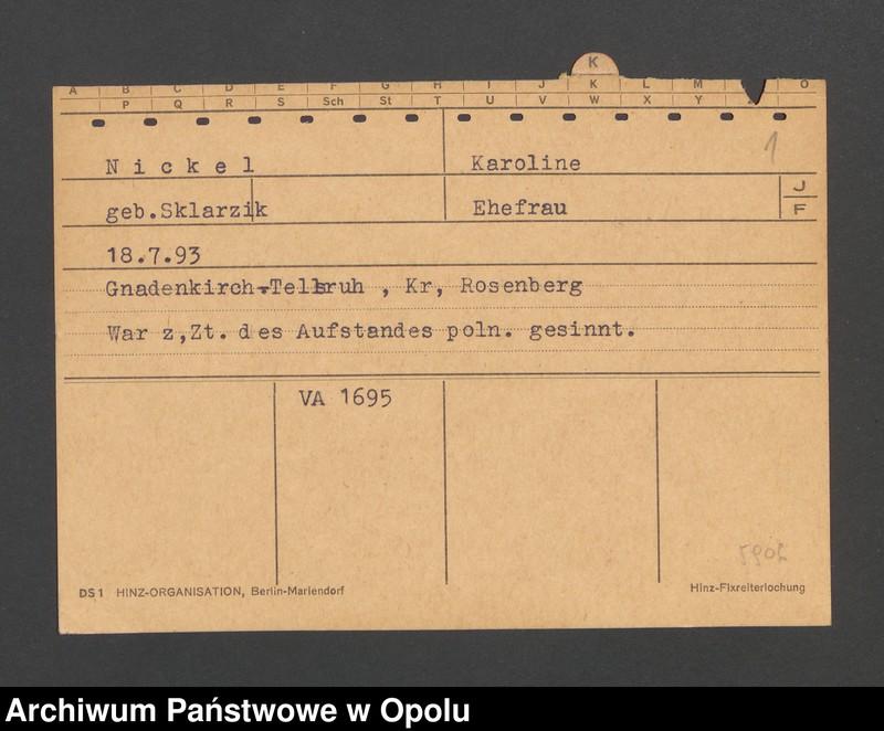 """Obraz 3 z jednostki """"[Nickel Karoline z domu Sklarzik, ur. 18.7.1893, zam. Gnadenkirch-Tellsruh]"""""""