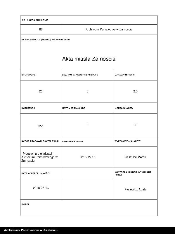 """Obraz 1 z kolekcji """"Projekt przebudowy Celi W. Łukasińskiego i odbudowy Bramy Lwowskiej [starej] w Zamościu"""""""