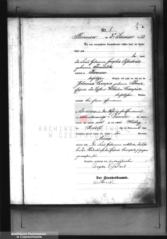 """Obraz z jednostki """"[Pierwopis aktów urodzeń z 1883 roku]."""""""