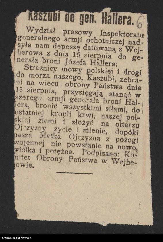 """Obraz 8 z jednostki """"Walki Armii Ochotniczej pod Warszawą. Wycinki prasowe."""""""