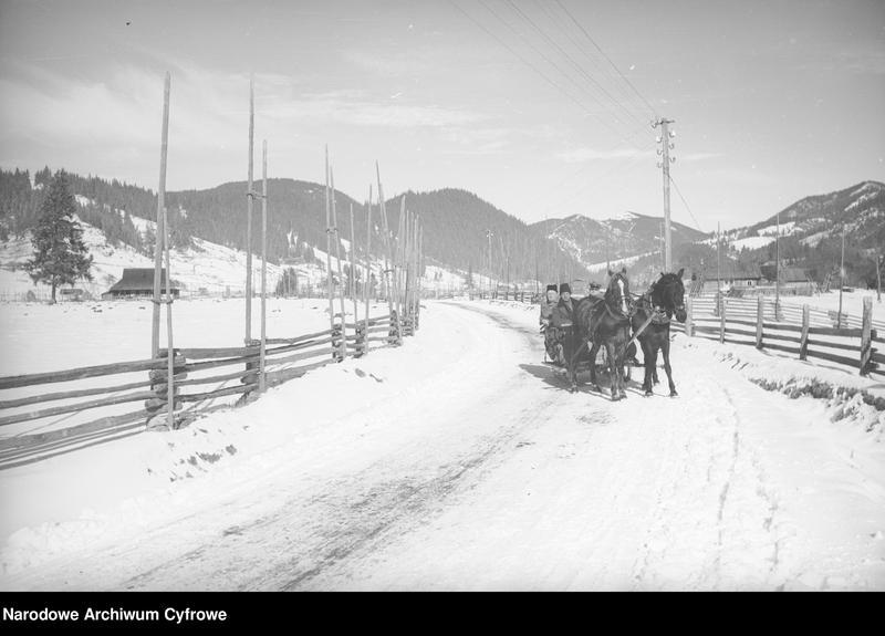 Obiekt Huculi jadący saniami zaprzężonymi w konie po szosie do Worochty we wsi Żabie-Ilcia. z jednostki Huculskie typy ludowe