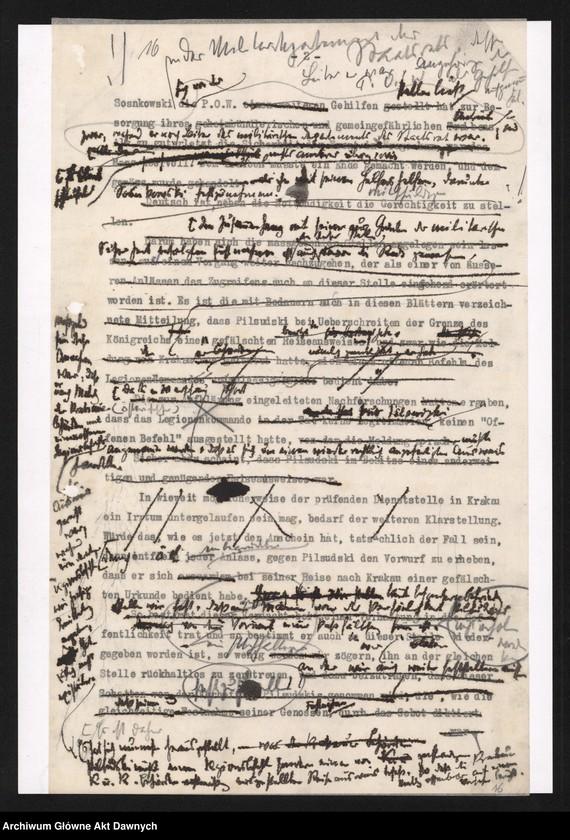 """Obraz z jednostki """"Betr[ifft] Festnahme Pilsudskis [Rękopis tekstu """"Uwięzienie Piłsudskiego"""" i korespondencja urzędowa Szefa Administracji dotycząca kolejnych wersji opracowania]."""""""