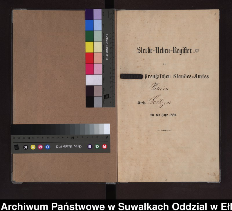 """Obraz z jednostki """"Sterbe-Neben-Register des Preussischen Standes-Amtes Rhein Kreis Loetzen"""""""