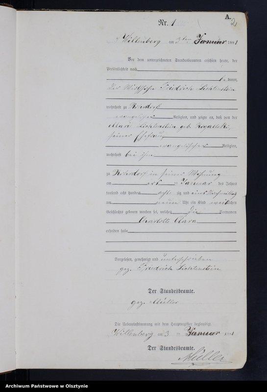 """Obraz z jednostki """"Geburts-Neben-Register Nr 1 - 241"""""""