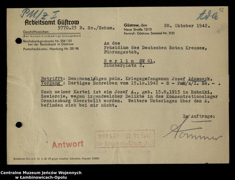 """Obraz 12 z jednostki """"Poszukiwania jeńców polskich zwolnionych z niewoli niemieckiej jako robotnicy cywilni, lit. Ada-Bod"""""""