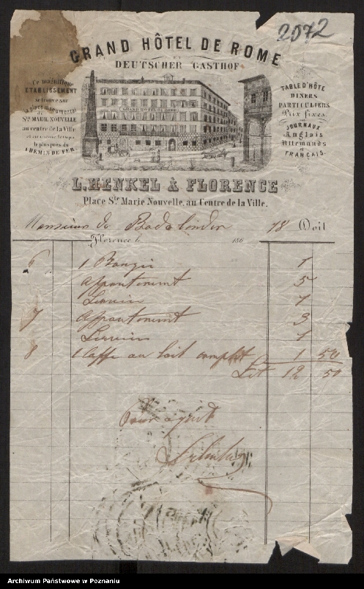 """Obraz 10 z kolekcji """"Egzotyczny papier listowny i rachunki z elitarnych hoteli - podróże rodziny Radolińskich"""""""