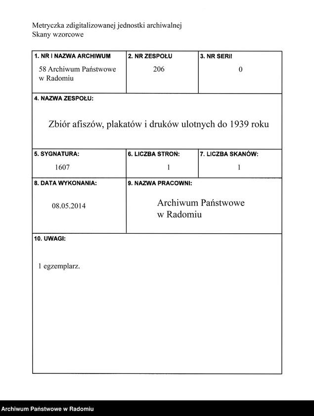 """Obraz 1 z jednostki """"Reklama piwa z browaru J. Saski i S-ka w Radomiu"""""""