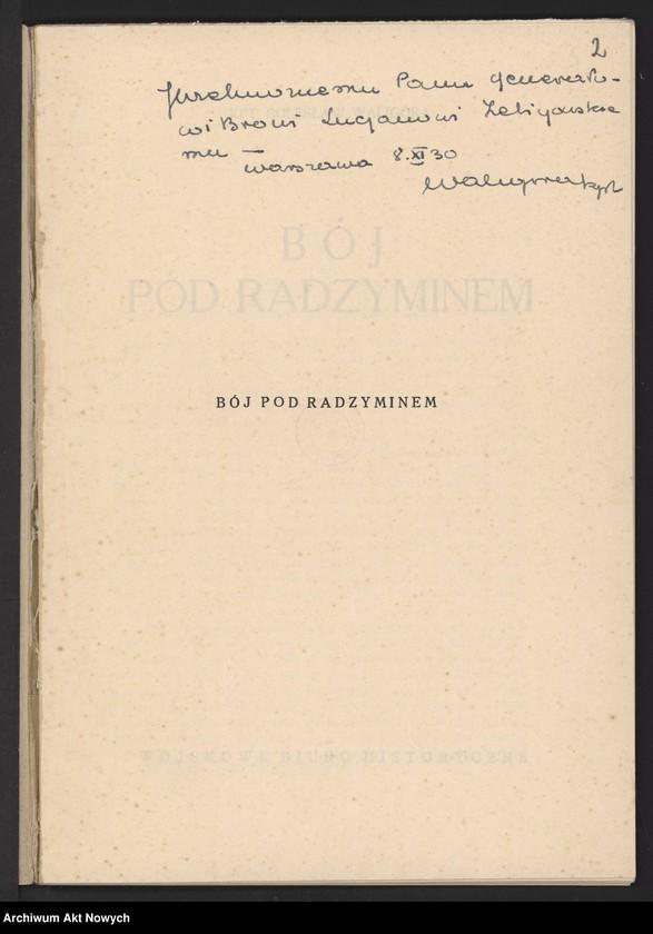 """Obraz 4 z jednostki """"Materiały dotyczące wojny 1920 roku. Odpisy akt, plany, wycinki prasowe. """""""