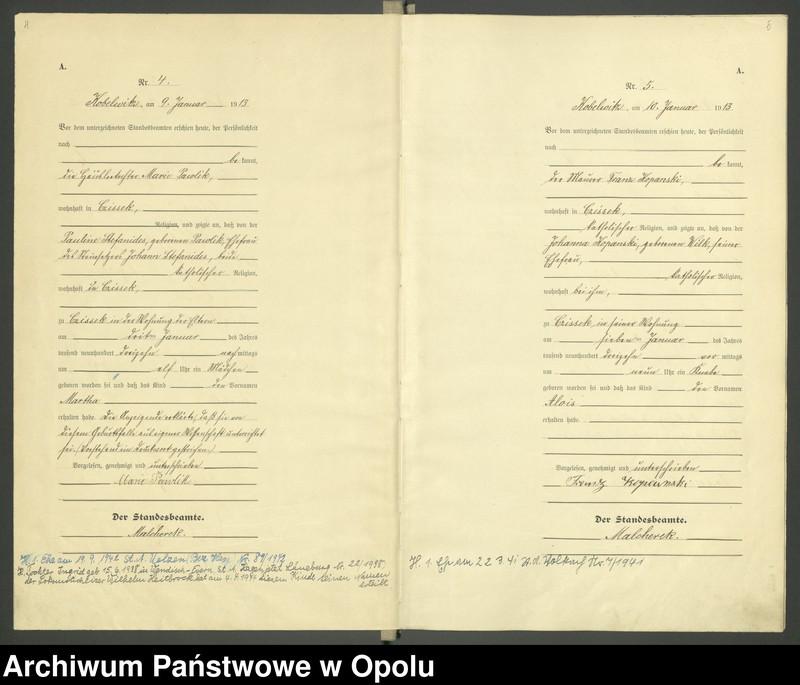 """Obraz 5 z jednostki """"Urząd Stanu Cywilnego Kobylice Księga Urodzeń Rok 1913"""""""