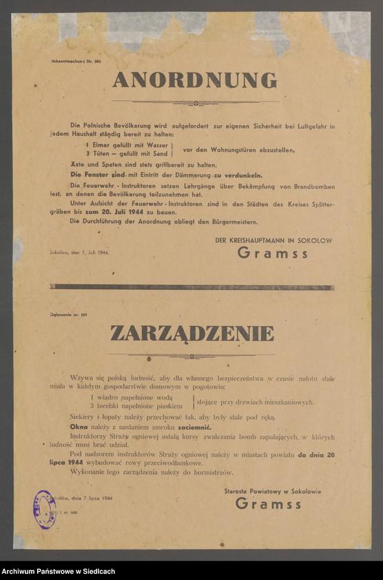 """Obraz 11 z kolekcji """"Afisze okupacyjne powiatu sokołowskiego 1939-1944"""""""