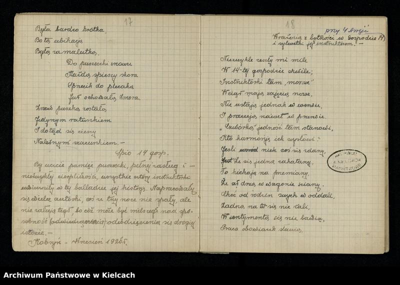 """Obraz 13 z jednostki """"Notatnik z piosenkami S.P. i O. z 1920 roku oraz Notesik żołnierski Stanisławy Olędzkiej-Daszewskiej"""""""