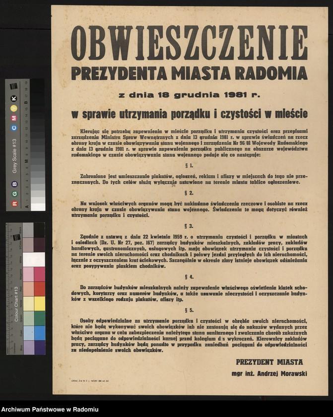 """image.from.unit """"Obwieszczenie Prezydenta miasta Radomia z dnia 18 grudnia 1981 r. w sprawie utrzymania porządku i czystości w mieście (stan wojenny)"""""""