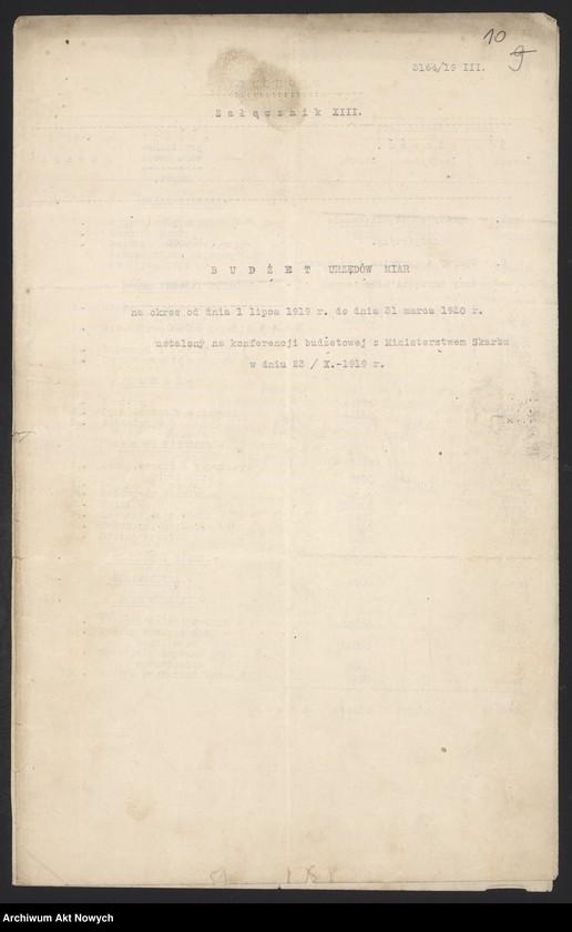 """Obraz 12 z jednostki """"[Budżet Służby Legalizacji Narzędzi Mierniczych na drugie półrocze 1919 r. i okres do 31 III 1920 r. Wyjaśnienia, zestawienia, załączniki.]"""""""