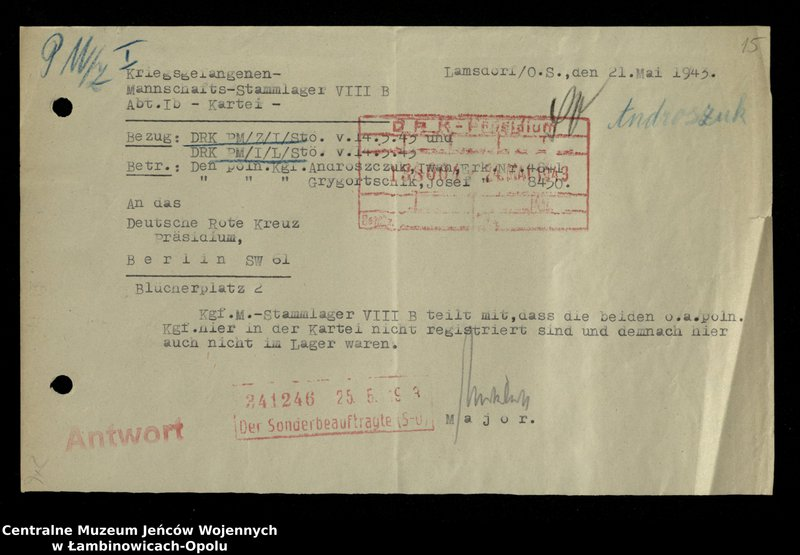 """Obraz 15 z jednostki """"Poszukiwania jeńców polskich zwolnionych z niewoli niemieckiej jako robotnicy cywilni, lit. Ada-Bod"""""""
