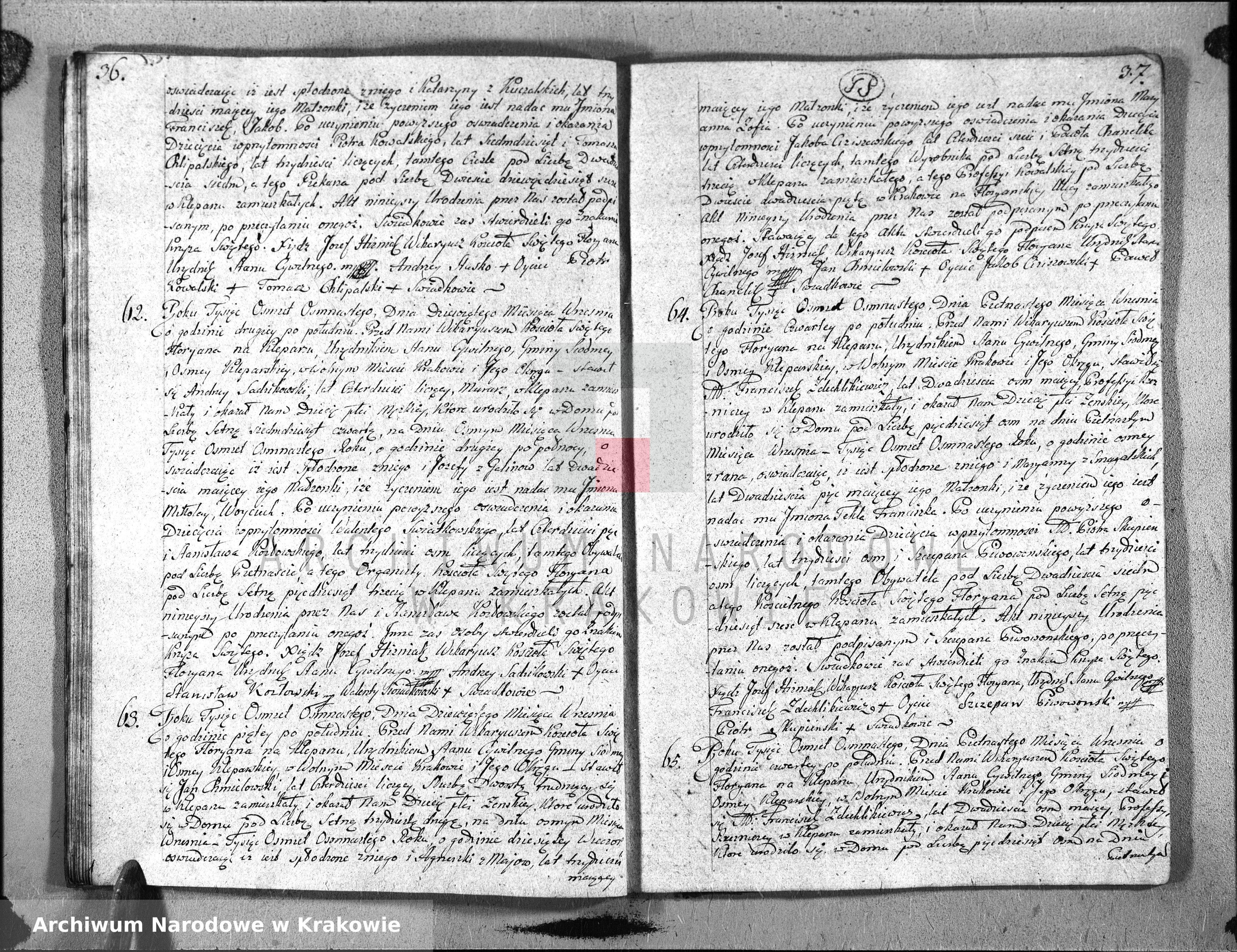 Skan z jednostki: Księga Aktów Urodzenia dla Parafii Sgo Floryana przy Krakowie na Rok 1818. II
