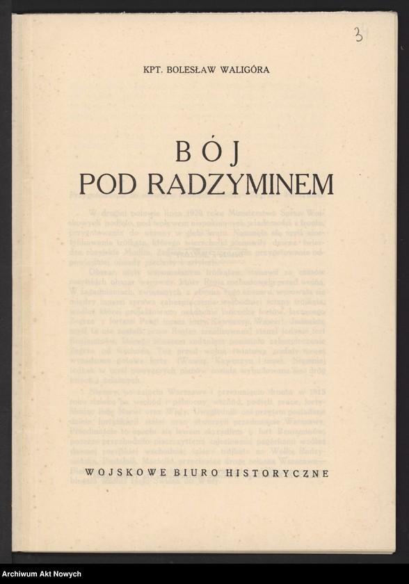 """Obraz 5 z jednostki """"Materiały dotyczące wojny 1920 roku. Odpisy akt, plany, wycinki prasowe. """""""