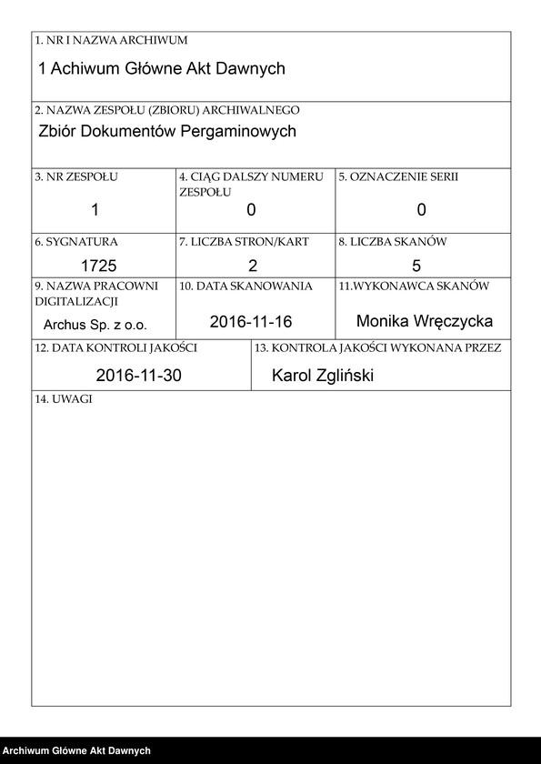 """Obraz 1 z jednostki """"Władysław IV potwierdzając ustawy cechu piwowarów i karczmarzy, transsumuje przywilej zatwierdzający króla Stefana z 2 V 1576 r."""""""