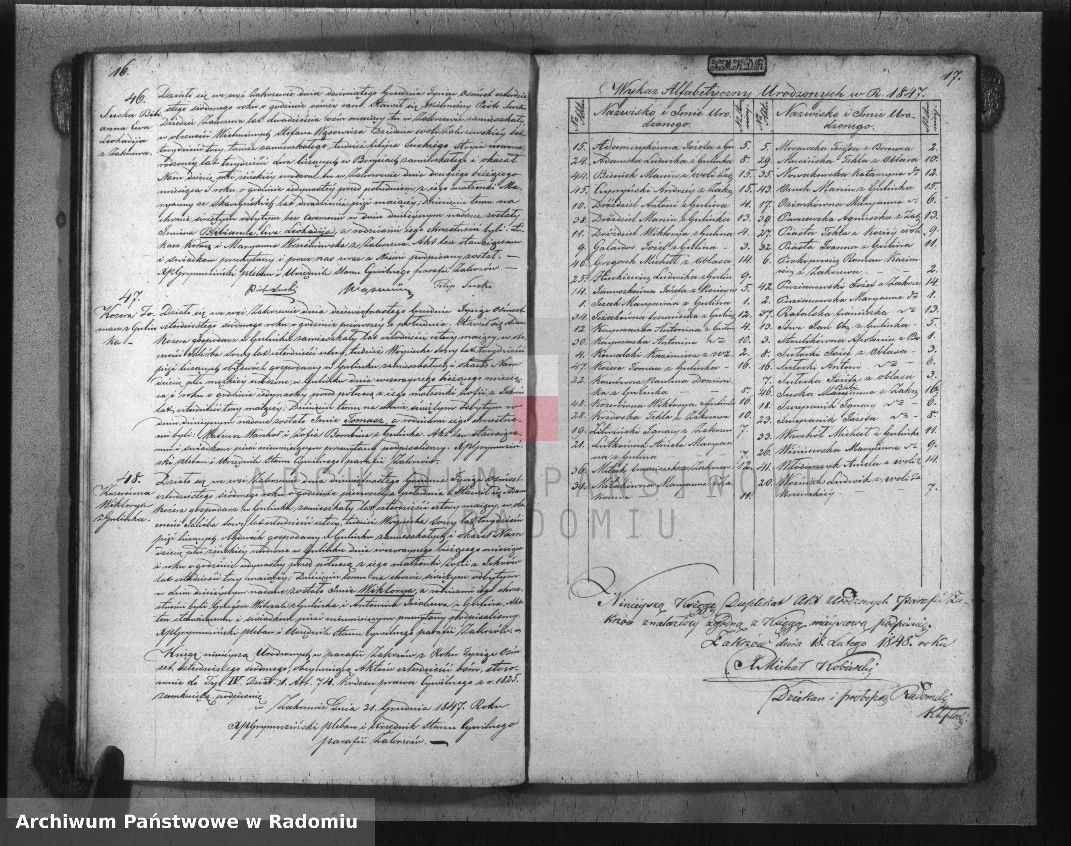 Skan z jednostki: Duplikat Aktów Urodzonych, Zaślubionych i Zmarłych w Parafii Zakrzów z Roku 1847