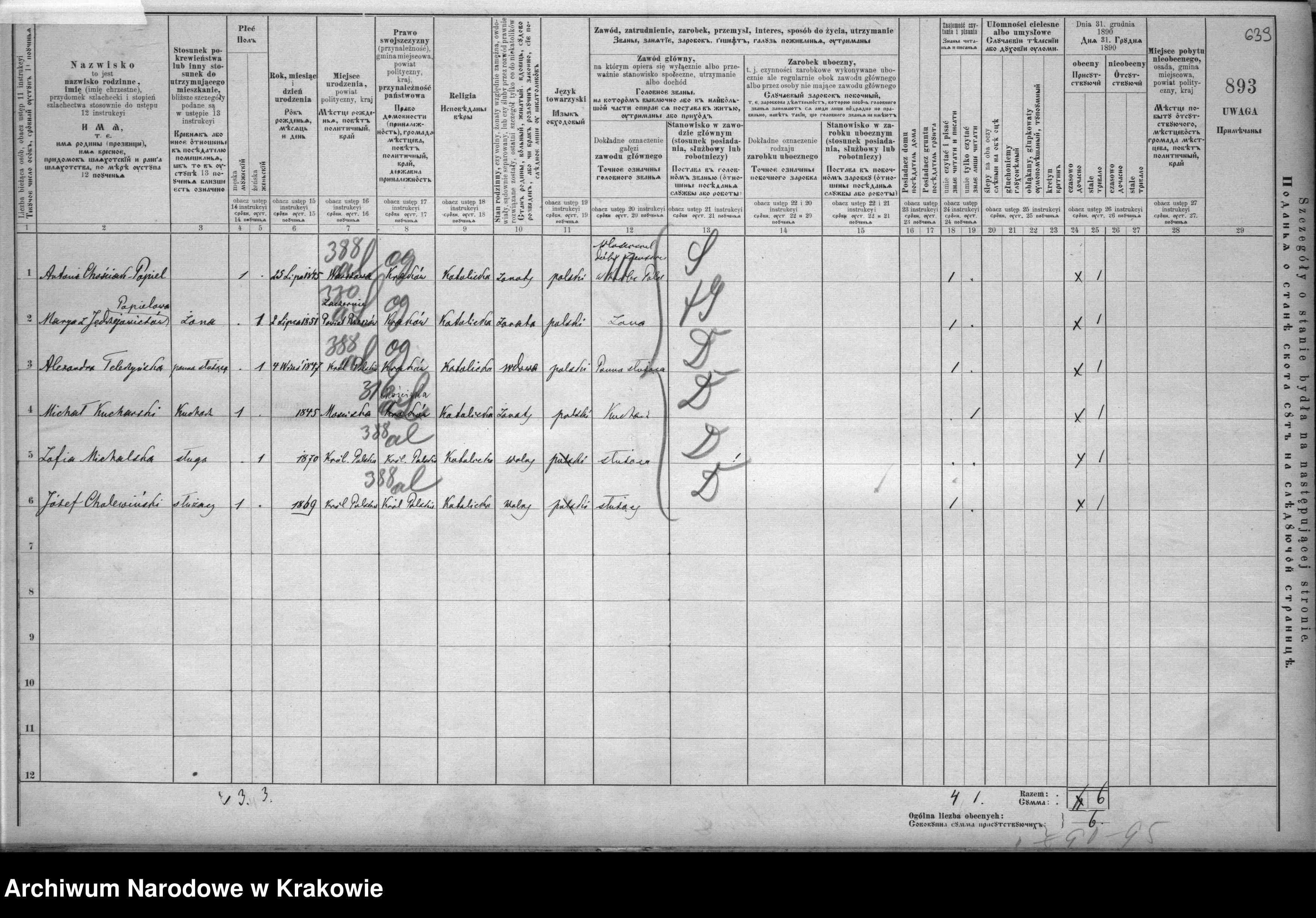 Skan z jednostki: Spis ludności 1890, Dz. V, nr 70-119, T. 21