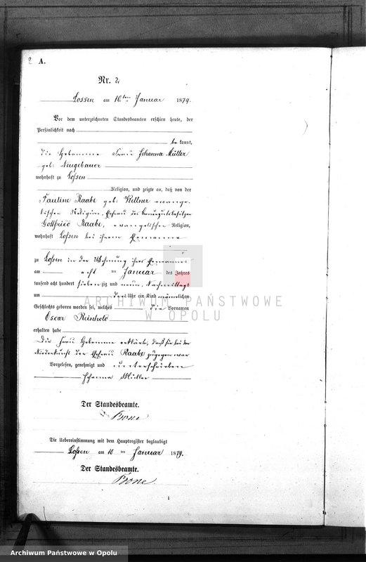 "Obraz 5 z jednostki ""Geburts-Neben-Register Standes-Amt Lossen 1879"""