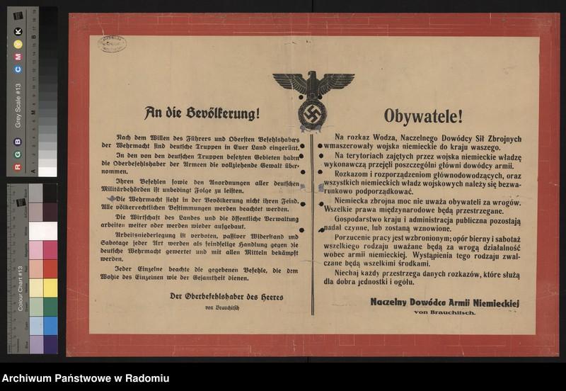 """image.from.unit """"Obywatele! Na rozkaz Wodza, Naczelnego Dowódcy Sił Zbrojnych wmaszerowały wojska niemieckie do kraju waszego... - odezwa mówiąca o władzy wykonawczej poszczególnych d-ców armii na terenach zajętych i obowiązku podporządkowania się im"""""""