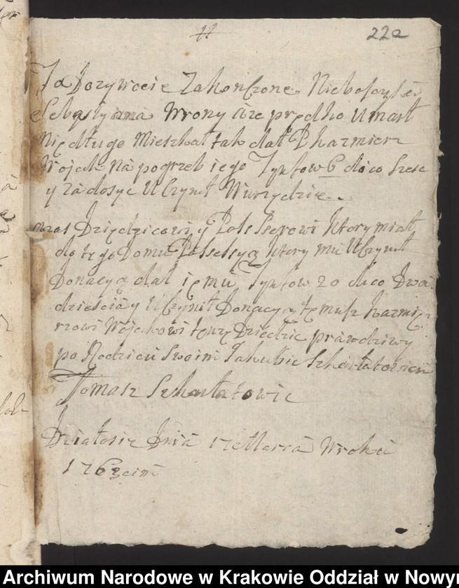 """Obraz 9 z kolekcji """"Fragment księgi wójtowsko-ławniczej miasta Limanowej z lat 1750-1818"""""""