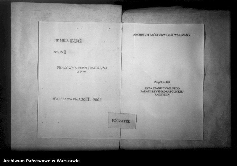 """Obraz 1 z jednostki """"Unikat akt zejścia parafii rzymsko-katolickiej Radzymin w latach 1878-1891"""""""